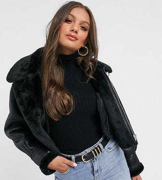 ASOS DESIGN Petite cropped borg aviator jacket in black
