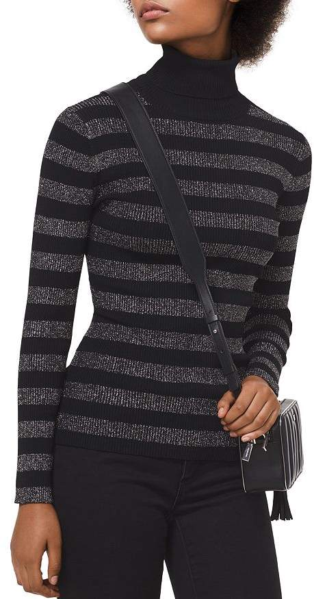 MICHAEL Michael Kors MICHAEL Metallic Striped Turtleneck Sweater