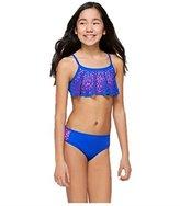 Justice Girls Bathing Suit Bikini Cut-Out Flounce Swimsuit /Pink 8-20