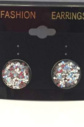 clear Tiny House Of Fashion Yae & Silver Glitter Studs
