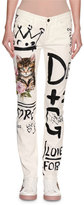 Dolce & Gabbana Graffiti & Cat Printed Skinny Jeans, White