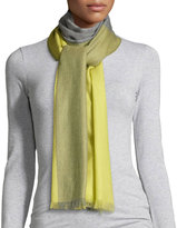 Neiman Marcus Colorblock Wool Scarf, Gray Flannel/Citron
