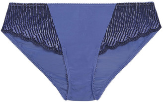 Wacoal Picot-trimmed Paneled Lace And Stretch Mid-rise Briefs