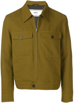 Ami Patched Pockets Zip Jacket