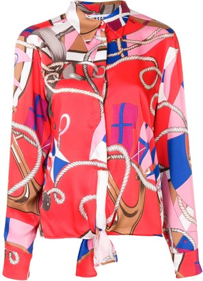 MSGM knot detail nautical print shirt