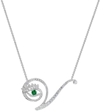 Tabayer Eye 18K White Gold, Emerald & Diamond Victorious Pendant Necklace