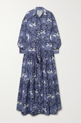 Evi Grintela Atlas Tiered Velvet-trimmed Printed Cotton Maxi Dress - Navy