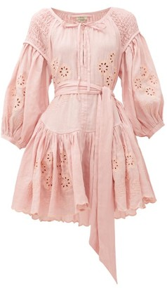 Innika Choo Meg Nettick Floral-embroidered Linen Dress - Light Pink