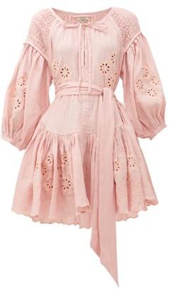 Innika Choo Meg Nettick Floral-embroidered Linen Dress - Womens - Light Pink