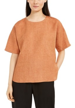 Eileen Fisher Organic Linen Boxy Top, Regular & Petite Sizes
