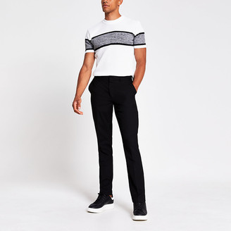 River Island White slim fit block knitted T-shirt
