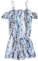 Aqua Girls' Pixel Print Cold Shoulder Romper , Sizes S-XL - 100% Exclusive