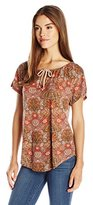 Lucky Brand Women's Border Printed Top in Shirt