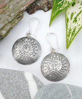 Katherine Winters Women's Earrings Metallic - Sterling Silver Floral Hammered Disc Drop Earrings