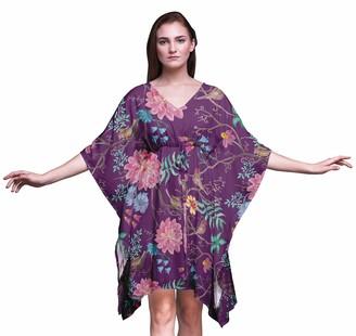 Bimba Flower Womens Short Beach Kaftan Beachwear Bikini Coverup Midi Dress-4X-5X
