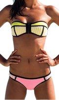 Ebuddy Women Crochet Hand Sewn Blanket Stitch Bandeau Zip Neoprene Bikini, (L)