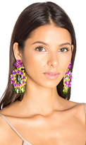 Mercedes Salazar Floral Stone Earring in Metallic Gold.