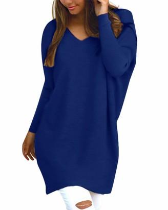 Blivener Women Long Sleeve V Neck Navy Blue Pullovers Loose Sweaters Long Pullover Jumper Tops M