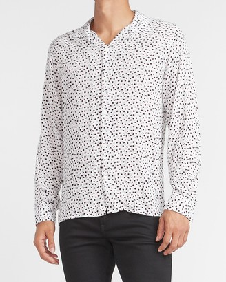 Express Slim Dot Print Rayon Shirt