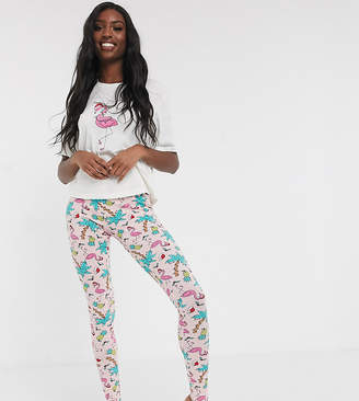 Asos Tall DESIGN Tall Christmas I'm lit flamingo tee & legging pyjama set-Pink