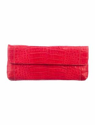 Carlos Falchi Crocodile Flap Clutch Red