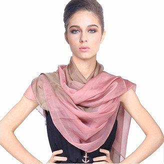Forever Angel Scarves Forever Angel Women's 100% Silk Chiffon Long Scarf Pink/Khaki