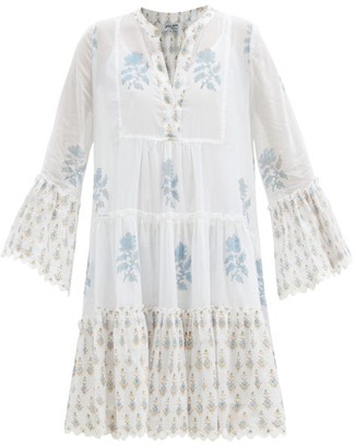 Juliet Dunn Floral-print Tiered Cotton Mini Dress - Blue White