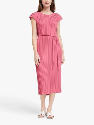 John Lewis & Partners Mini Pleat Midi Dress, Rose