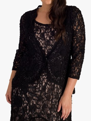 Chesca Lace Cornelli Embroidered Lace Jacket, Black