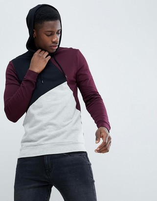 ASOS DESIGN Muscle Hoodie In Burgundy With Color Blocking