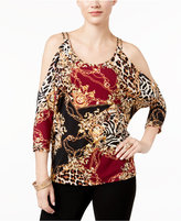 Thalia Sodi Printed Cold-Shoulder Blouse, Only at Macy's