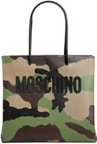 Moschino Camo Printed Leather Tote Bag