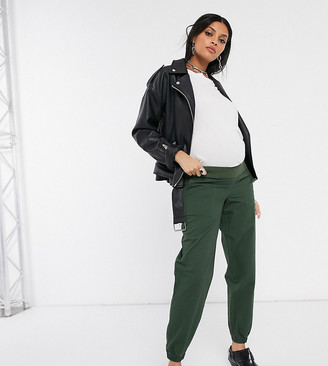 Asos DESIGN Maternity high waist chino with jogger hem in khaki