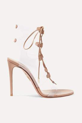 Aquazzura Milos 105 Leather And Pvc Sandals - Neutral