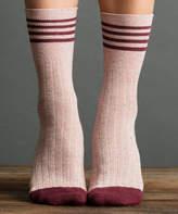 Berry Metallic Tweed Rugby Socks