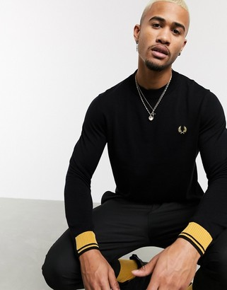 Fred Perry abstract tipped crew neck sweater in black