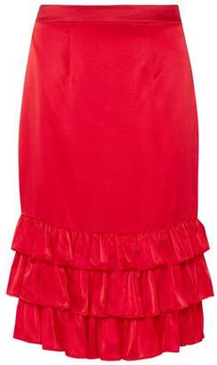 Maggie Marilyn Billi Mac Ruffled Silk-satin Skirt
