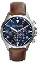 Michael Kors Gage Stainless Steel & Leather Chronograph Strap Watch