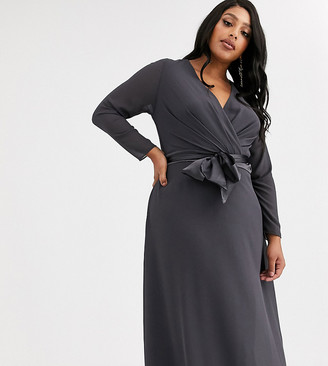 TFNC Plus Bridesmaid long sleeve bow back midi dress in grey
