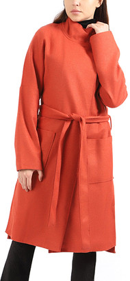 Simmly Women's Overcoats Salmon - Salmon Pocket Tie-Waist Funnel-Neck Coat - Women