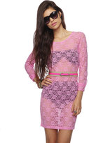 FOREVER 21 Sheer Long Sleeve Lace Dress