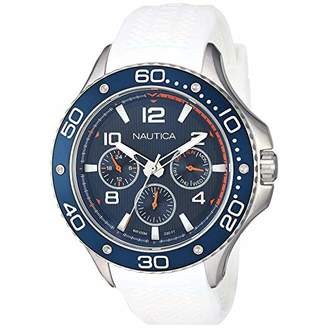 Nautica Men's PIER 25 Collection Stainless Steel Japanese-Quartz Watch with Silicone Strap