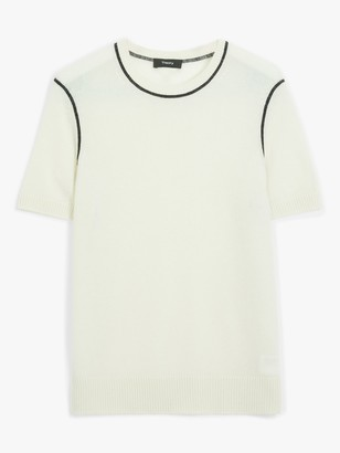Theory Cashmere Piped Detail Short Sleeve Jumper, Natural