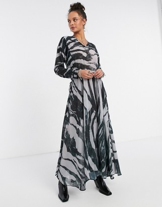 Religion dress with drawstring waist in abstract print