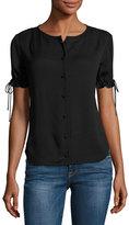 Frame Tie-Cuff Short-Sleeve Crepe Shirt, Black