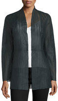 Neiman Marcus Long Laser-Cut Lambskin Jacket, Navy