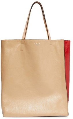 Marni Museo Medium Crackled-leather Tote Bag - Womens - Beige Multi
