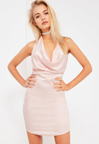Missguided Galore Pink Satin Cowl Halterneck Mini Dress