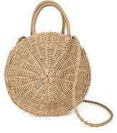 QTKJ Women Straw Summer Beach Bag Handwoven Round Rattan Bag Cross Body Bag Shoulder Messenger Satchel