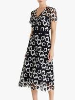 Fenn Wright Manson Adelphe Floral Print Midi Dress, Black/Ivory